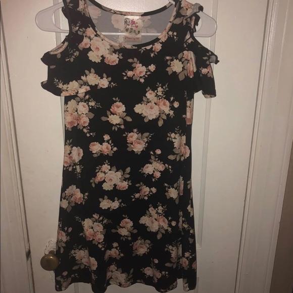 4e24beb80ba8 Girls floral cold shoulder tunic dress L. Boutique. jenna and jessie